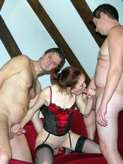 Swinger wife foursome with girlfriend..